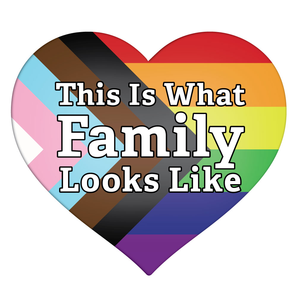 "rainbow heart with trans and black and brown flag colors with the caption ""This is what family looks like"""