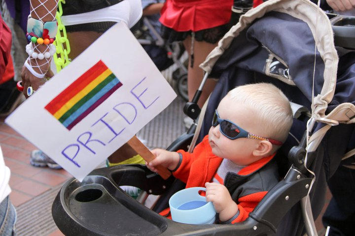 uber-cool kid in shades in stroller at OFC contingent, 2011 SF LGBTQ Pride