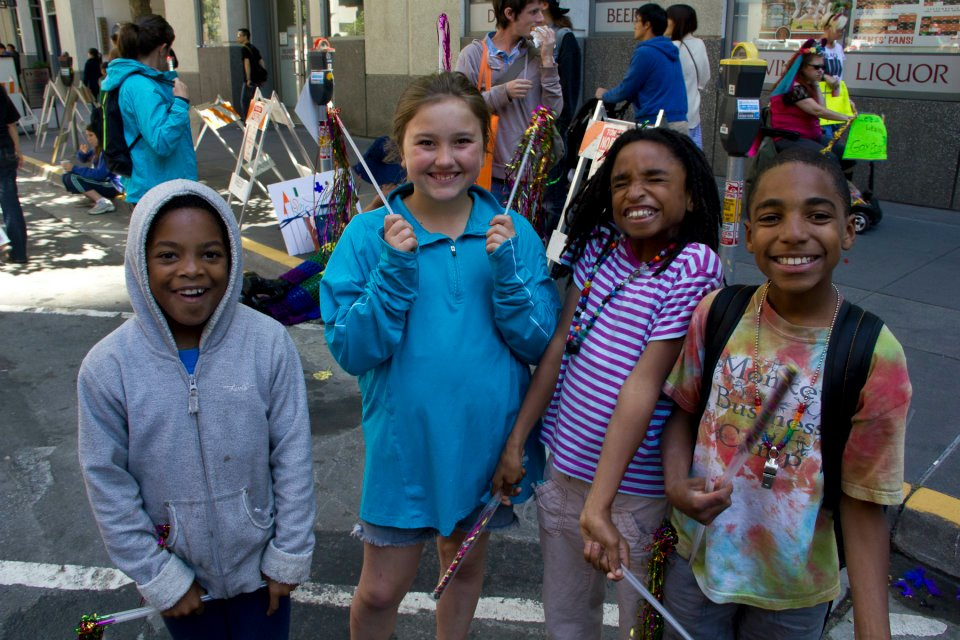 4 proud kids at march stepoff, OFC contingent, 2012 SF LGBTQ Pride