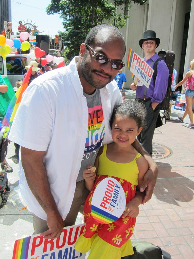dad and daughter in OFC contingent at 2013 SF LGBGTQ Pride parade