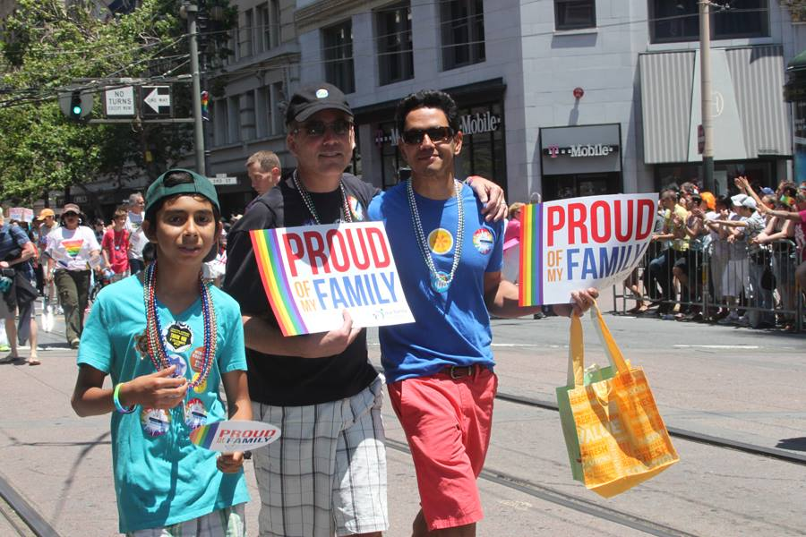 2 dads + son marching in OFC contingent at 2013 SF LGBGTQ Pride parade