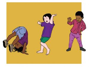 illustration of toddlers dancing, by Naomi Bardoff