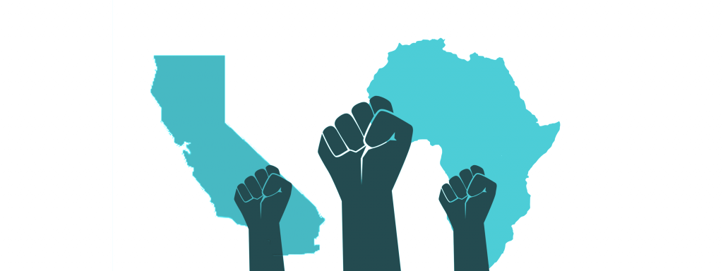raised fists in front of map-style images of California and Africa