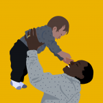 an illustration of a parent raising their toddler child above them in play