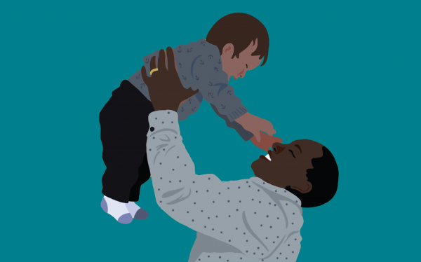 graphic of parent hoisting their joyous toddler