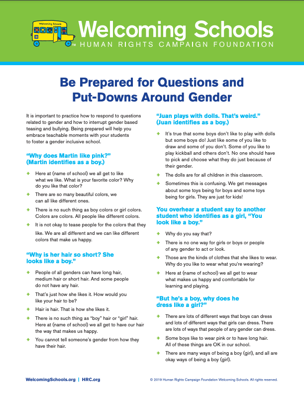 Be Prepared for Questions and Put-Downs Around Gender