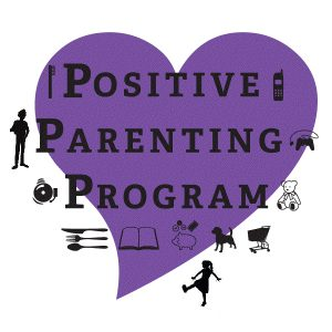 purple heart with images of kids and the words Positive Parenting Program