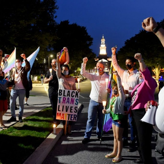 LGBTQ rights supporters at candlelight vigil, West Reading, PA, September 2020. Photo by Ben Hasty for Getty Images