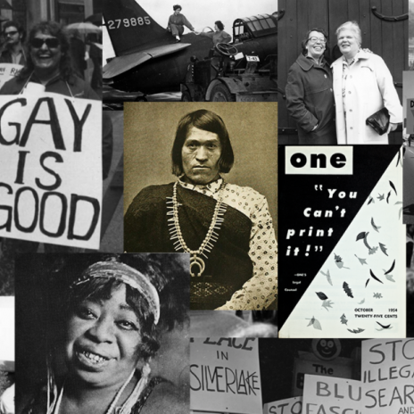 colage of historical images of LGBTQ figures